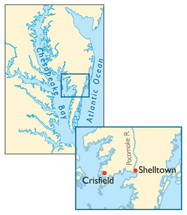 Map showing location of Shelltown and Crisfield on the eastern shore of Maryland