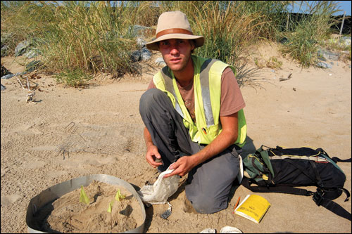 Ryan Trimbath kneeling near a terrapin nest