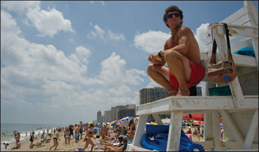 Life guard watching bathers at Ocean City, MD