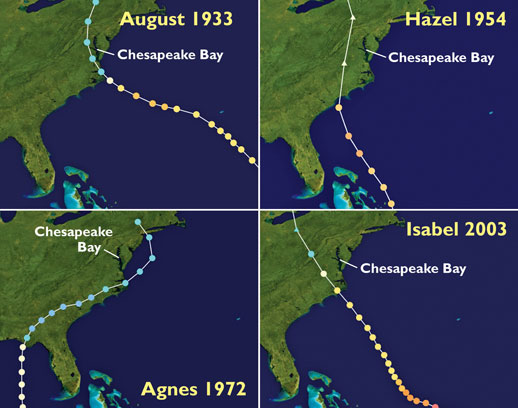 Tracks of monster hurricanes