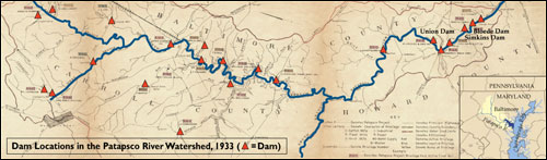 Map of dam locations. Credits: Large map (adapted), courtesy of the Maryland Geological Survey; small map, Karl Musser.