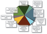 TPie chart of sources of nitrogen loadin the Bay