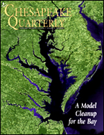 issue cover - Full of twists and turns that stand out in this satellite image, the Chesapeake Bay and its watershed make up a grand and complex ecosystem. Scientists in the region are working to represent that entire environment using computer simulations, efforts that are guiding a new push to clean up the Bay. Photograph, NASA Scientific Visualization Studio.