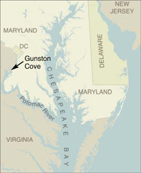 Map showing where Gunston Cove is located. Credit: iStockphoto.com/University of Texas Map Library