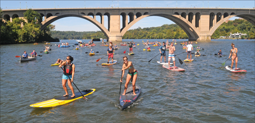 The Potomac Riverkeeper and the Water Keeper Alliance (above) staged a river rally near Key Bridge to celebrate the 40th anniversary of the Clean Water Act. Credit: Alan Lehman