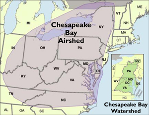 Airshed and watershed maps. Credit: Chesapeake Bay Program