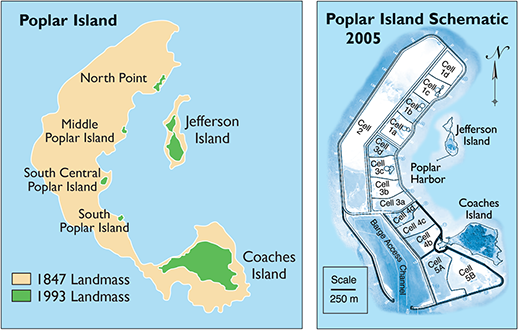 Poplar Island map and schematic. Credit: U.S. Army Corps of Engineers