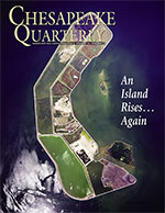 issue cover - A 2012 aerial shot of the reconstructed Poplar Island in the Chesapeake Bay shows the island's perimeter, which consists of boulders piled 10 feet high. A network of dikes separates marsh sections or 'cells.' Two natural islands, Jefferson and Coaches, lie to the right of Poplar. Photograph,  U.S. Army Corps of Engineers