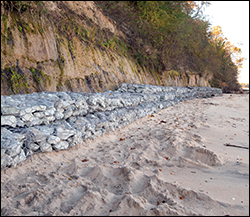 A long line of gabions. Credit: Daniel Strain