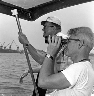 Bill Hargis on board a research vessel
