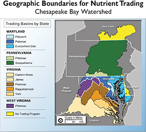 Geographic boundaries for nutrient trading excerpted from a figure from the World Resources Institute