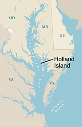 Chesapeake Bay map showing Holland Island courtesy of University of Texas Map Library