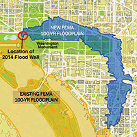 FEMA's flood plain map. Credit: National Capital Planning Commission