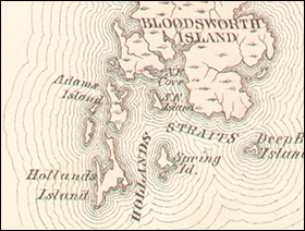 1877 map shows Holland Island. Credit: Dorchester County Atlas, 1877, courtesy of Sheridan Libraries, Johns Hopkins University
