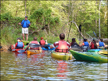 REU students kayaking on the Patuxent River. Credit: Michael Allen