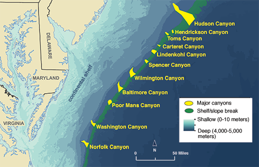 Underwater Canyon Map Along The Atlantic Coast Credit Noaa Oer Boem