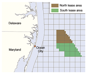 Maryland's proposed wind-power lease zone. Credit: Bureau of Ocean Energy Management