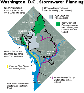 Washington's water-and-sewer authority map. Graphic: adapted by Sandy Rodgers from a DC Water image