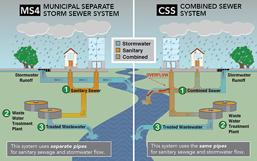 A network of underground pipes called the MS4 discharges Washington's stormwater into local waterways with little treatment. Credit:  D.C. Department of Energy and Environment