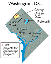 Washington, D.C. map showing the Chevy Chase and Petworth neighborhoods. Map: adapted by Sandy Rodgers from a DC Water map