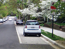 Strips of permeable paving were installed by the city in this Washington residential neighborhood. Credit: D.C. Department of Energy and Environment