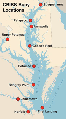 Chesapeake Bay Interpretive Buoy System (CBIBS). Map, created by Sandy Rodgers on a base map from Vectorstock.com