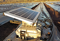 Solar powered nitrate sensor for measuring nitrates in farm soils. Photograph, Decagon Devices