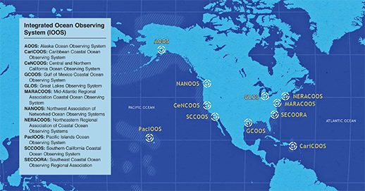 Map of the Integrated Ocean Observing System. Map, NOAA/IOOS