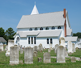 Deal Island church and graveyard. Photograph, Sky Swanson