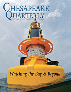 Chesapeake Bay Interpretive Buoy System buoy, cover of Chesapeake Quarterly Volume 15, Number 2. Photograph, Michael Eversmier