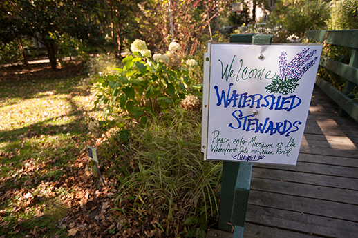 Watershed Stewards meeting sign.  Photograph, Daniel Pendick