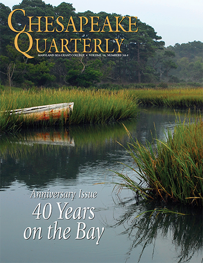issue cover - A wooden boat finds a final resting place in a wetlands along a Virginia creek. Photograph, Jay Fleming