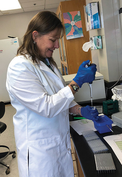 Geneticist Maile Neel with a pipette, testing the genetic makeup of the celery.
