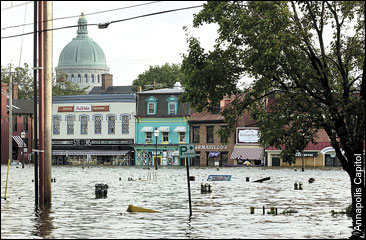 Downtown Annapolis flooded after Hurricane Isabel. Photograph by Annapolis Capitol