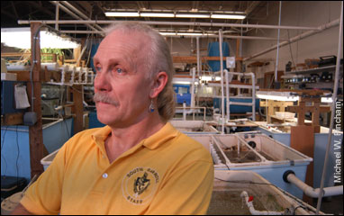 Bob Foor-Hogue at the South Carroll High School aquaculture classroom – by Michael W. Fincham