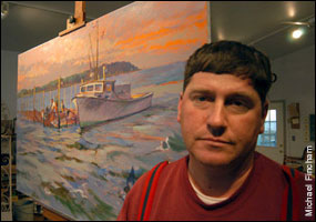 Tilghman Hemsle next to his painting of a skipjack