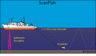 schematic showing Scanfish undulating track relative to the research vessel - by Bill Boycourt
