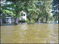 The Hankins house flooded by Bud and Harriett Hankins