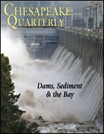 issue cover - The Conowingo Dam opened its gates to alleviate flooding on September 9, 2011, as Tropical Storm Lee swept through the area. Photograph by Patrick Semansky, Associated Press.