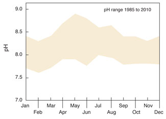 Ranges of monthly pH at Cedar Point from 1985 to 2010. Source: Maryland Department of Natural Resources, Eyes on the Bay.