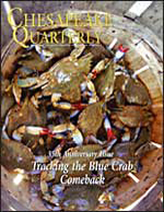 "issue cover - Blue crabs big enough for the ""basket trade."" These crabs can be sold for steaming and eating at summertime crab feasts. You can tell these are female crabs: they ""paint their nails red."" Credit: Michael W. Fincham."