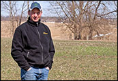 Mike Brubaker stands amid cover crops. Photograph: Jeffrey Brainard