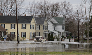 Flooded street in Cambridge, Maryland. Credit: David Harp