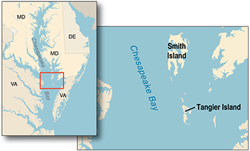 Tangier Island Virginia Map.Chesapeake Quarterly Volume 13 Numbers 2 3 Early Warnings From