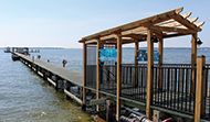 Chesapeake Biological Laboratory's research pier at the mouth of the Patuxent River. Photograph, Sarah Brzezsinski