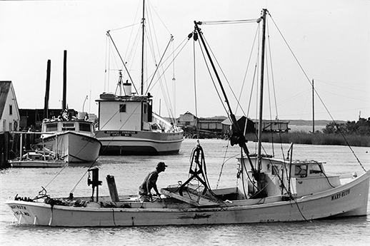 An oysterman heads out of Smith Island on a patent tonging worksboat. Photograph by Skip Brown