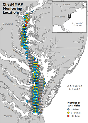 Map shows the locations and frequency of past ChesMMAP visits. Map, Virginia Institute of Marine Science