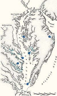 map illustration of the Chesapeake Bay