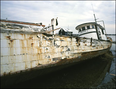 The Bessie L, a rusting boat.  Photograph by Michael Hogan